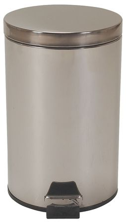 3.5 gal.  Round  Silver  Trash Can