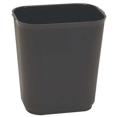 7 gal. Black Fiberglass Rectangular Fire-Rstnt Trash Can
