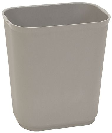 Wastebasket, Rectangular, 3-1/2 gal., Gray
