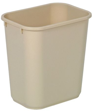 7 gal. Beige Rectangular Wastebasket