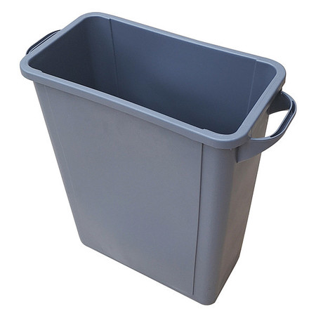 16 gal. Gray Plastic Rectangular Trash Can