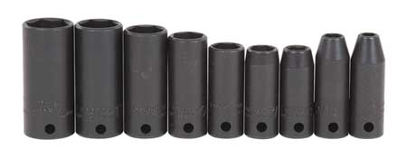 Impact Socket Set, 3/8 In Dr, 9 pc