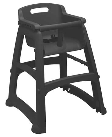 Youth High Chair, Black,  Includes Wheels