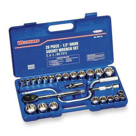 Socket Wrench Set, 1/2 in. Dr, 26 pc