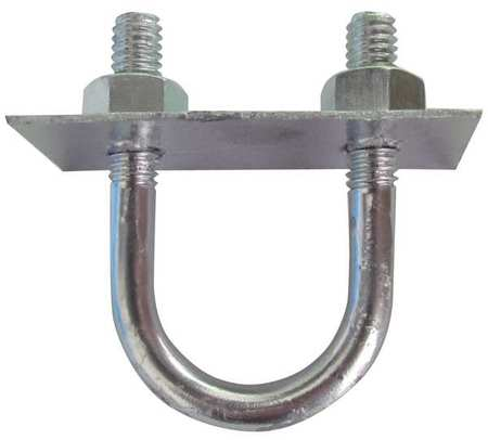 "1/4""-20 x 1"" Pipe Size Zinc Low Carbon Steel U-Bolt,  10 pk."