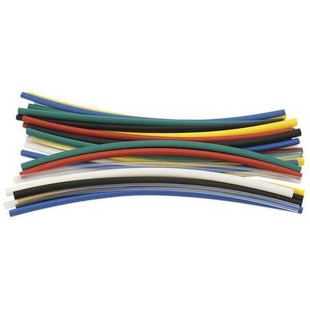 Shrink Tubing, 0.125in ID, Colors, 6in, PK28