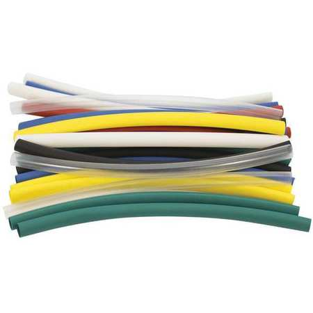 Shrink Tubing, 0.25in ID, Colors, 6in, PK21