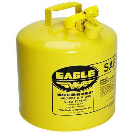 Type I Safety Can, 5 gal, Yellow, 13.5In H