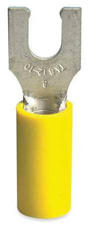 Fork Terminl, Lockng, #10 Stud, Yellow, PK50