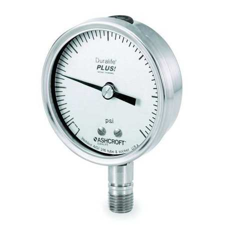 Pressure Gauge, 0 to 30 psi, 3-1/2In, 1/4In
