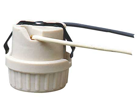 Snap-In Socket, 6 In Wire Leads, Porcelain