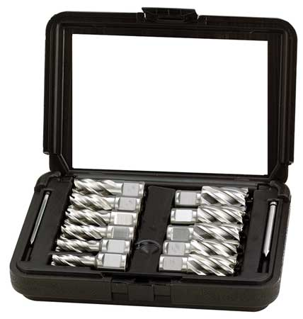 Annular Cutter Set, M2 HSS, 1 In D, 11 Pc