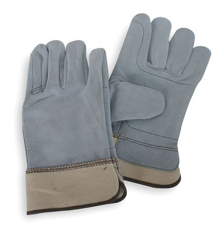 Leather Palm Gloves, Cow Split, Gray, S, PR