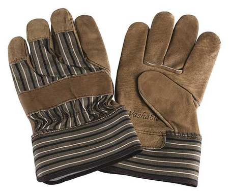 Leather Palm Gloves, Pig Grain, Tan, L, PR