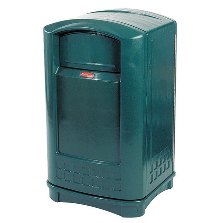 50 gal.  Square  Green  Trash Can w/ Disposal Opening