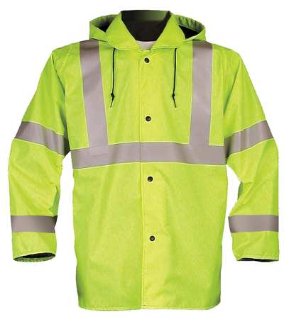 Jacket with Hood, Hi-Vis Ylw/Grn, L