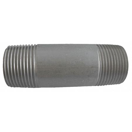 "1/8"" MNPT x 1-1/2"" TBE Stainless Steel Pipe Nipple Sch 80"