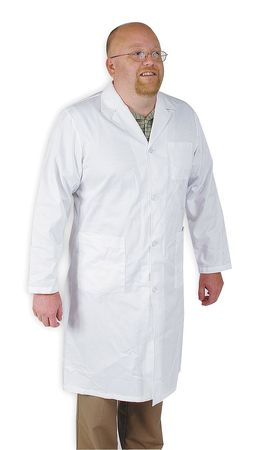 Collared Lab Coat, Male, XL, White