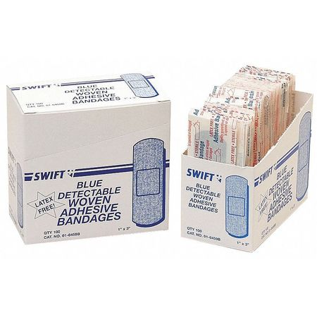 Metal Detectable Bandages,  Blue,  PK100