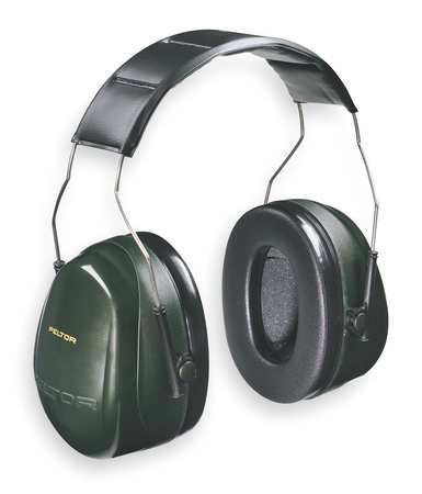 Ear Muff, 27dB, Over-the-Head, Black/Green