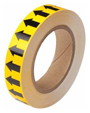 Arrow Tape, Black/Yellow, 1 In. W