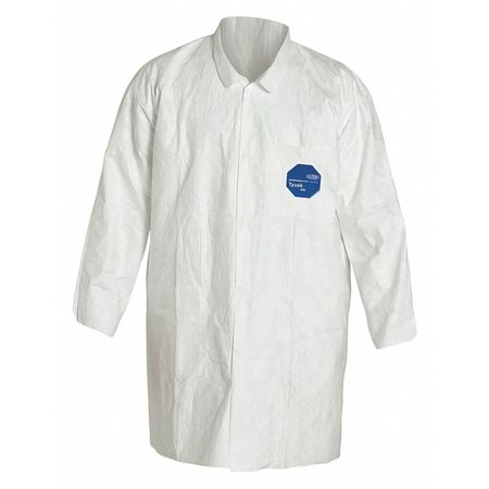 Disp. Lab Coat, M, Tyvek(R), White, PK30