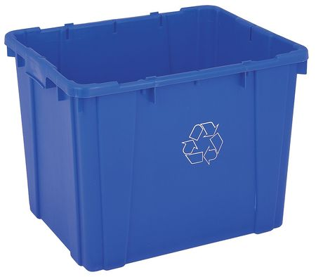 14 gal. Recycling Container Rectangular,  Blue Plastic