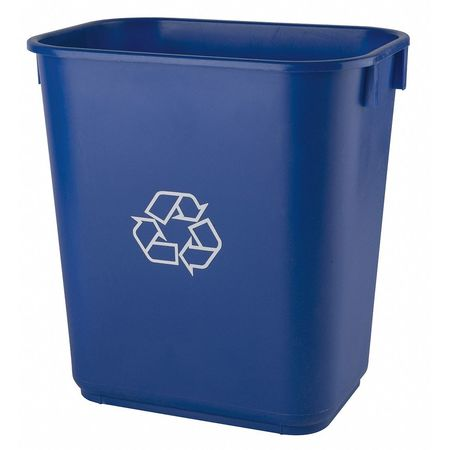 Desk Recycling Container, Blue, 3-1/2 gal.