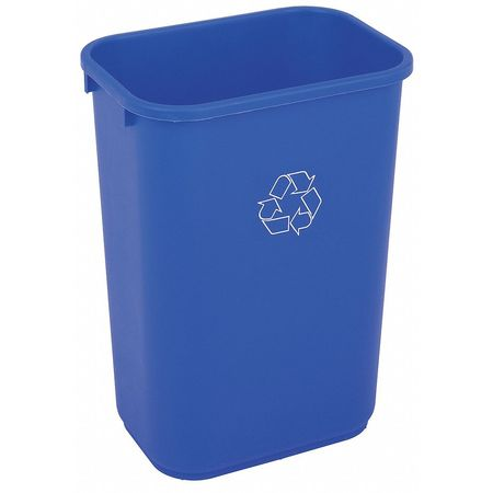 10 gal. Desk Recycling Container Rectangular,  Blue Plastic