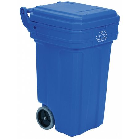50 gal. Mobile Recycling Container Rectangular,  Blue Plastic