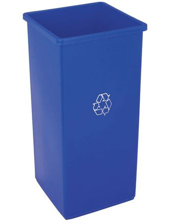 32 gal. Recycling Container Square,  Blue Plastic