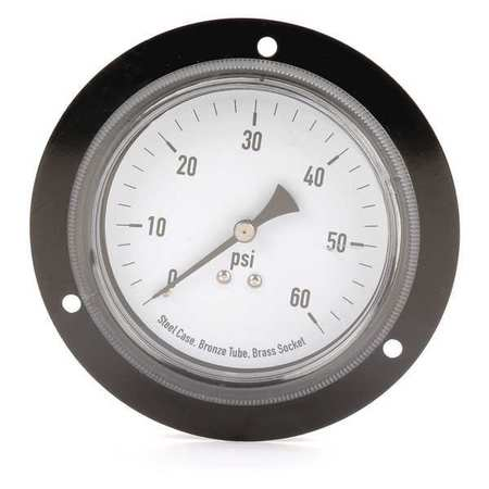 Panel Mount Gauge, Flange, 3 1/2In, 60 psi