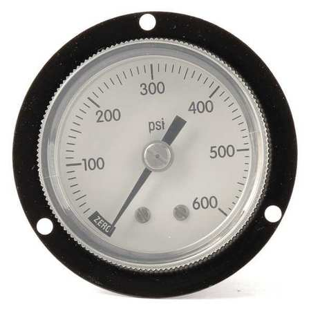 Panel Mount Gauge, Flange, 2 In, 600 psi