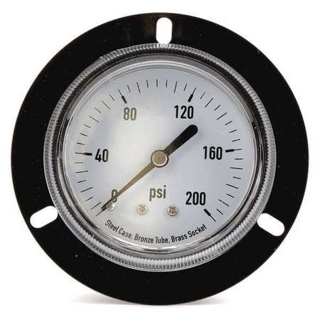 Panel Mount Gauge, Flange, 2 1/2In, 200 psi
