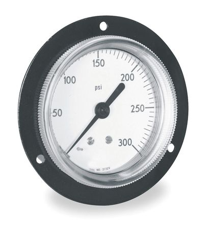 Panel Mount Gauge, Flange, 2 1/2In, 300 psi