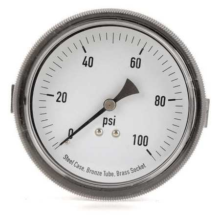 Panel Gauge, U Clamp, 3 1/2 In, 100 psi