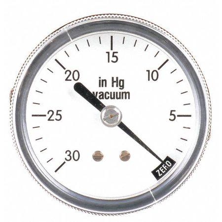 Vacuum Gauge, U Clamp, 2 1/2 In, 30 In Hg