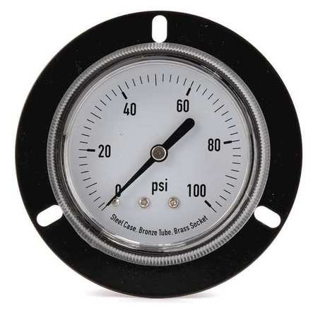 Panel Gauge, Front Flange, 2 1/2 In, 100psi