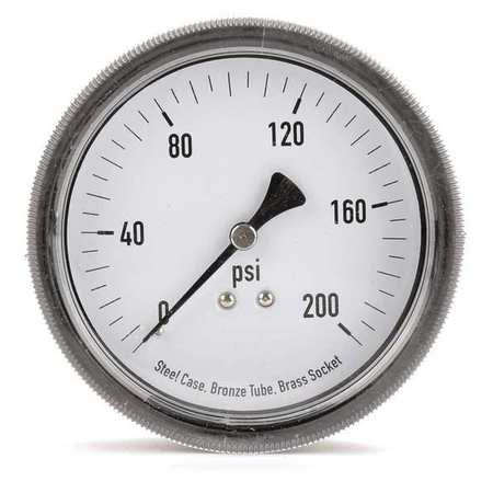 Panel Gauge, U Clamp, 3 1/2 In, 200 psi