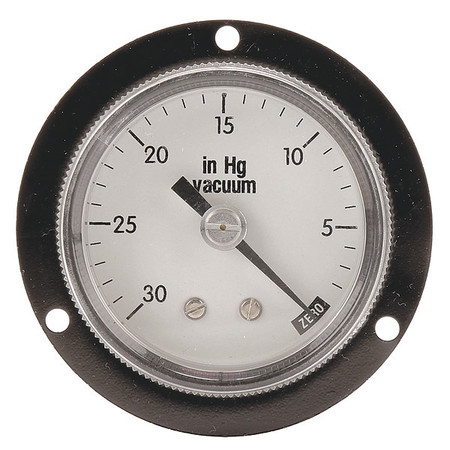 Panel Vacuum Gauge, Flange, 2 In, 30 In Hg