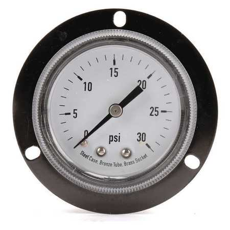 Panel Pressure Gauge, Flange, 2 In, 30 psi