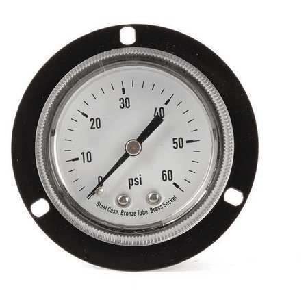 Panel Pressure Gauge, Flange, 2 In, 60 psi