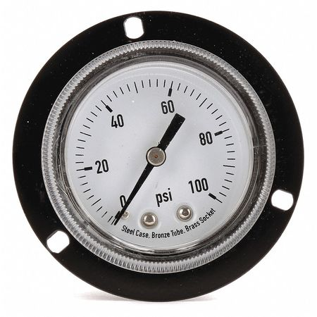 Panel Pressure Gauge, Flange, 2 In, 100 psi