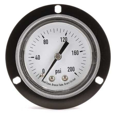Panel Pressure Gauge, Flange, 2 In, 200 psi