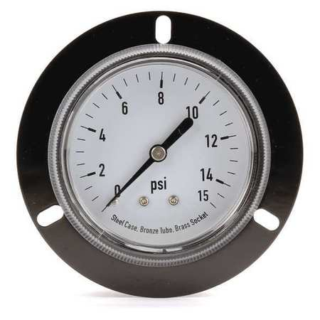 Panel Gauge, Front Flange, 2 1/2 In, 15 psi
