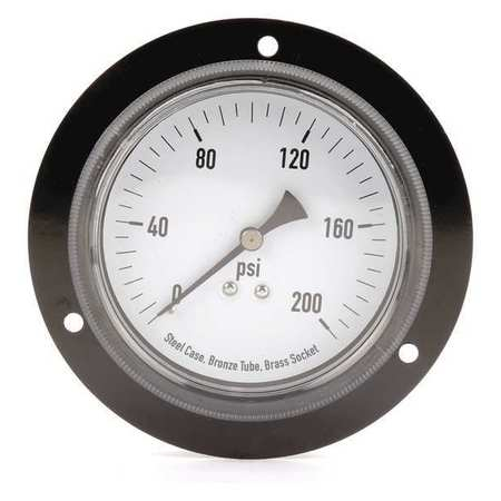 Panel Gauge, Front Flange, 3 1/2 In, 200psi