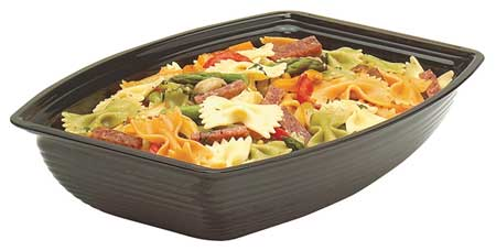 Rectangular Ribbed Bowl,  5 qt.,  Polycarbonate Black PK4