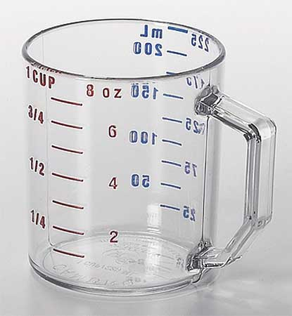 Cambro Dry Measuring Cup 1 Cup Clear Pk12 Ca25mccw135