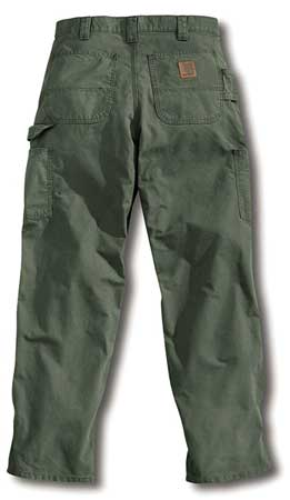 Canvas Work Pants, Fatigue, Size33x32 In