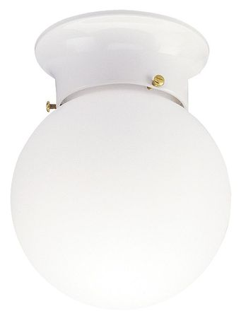 Light Fixture, White, A19, Wh Glass Lens